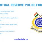 Crpf Recruitment 2017 Online Apply Now | 219 ASI Vacancies