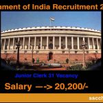 Parliament of India Recruitment 2017- 31 Junior Clerk Vacancy -Apply Online