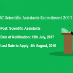 SSC Scientific Assistant Recruitment 2017 : Notification for 1102 vacancies